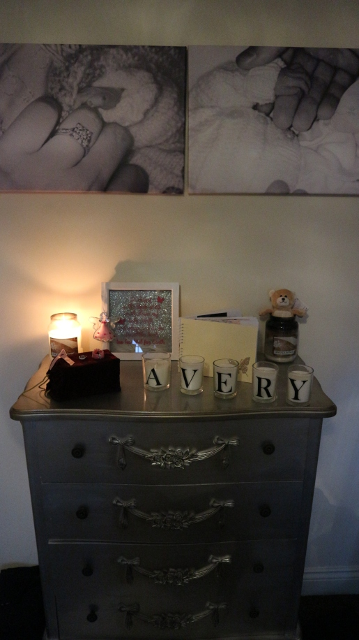 i've spent time maing a shrine tribute to our little girl with her ashes and special memories